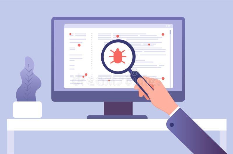Concepto del virus de ordenador Mano con software de prueba de la lupa Icono del virus del insecto en la pantalla de ordenador Ve stock de ilustración