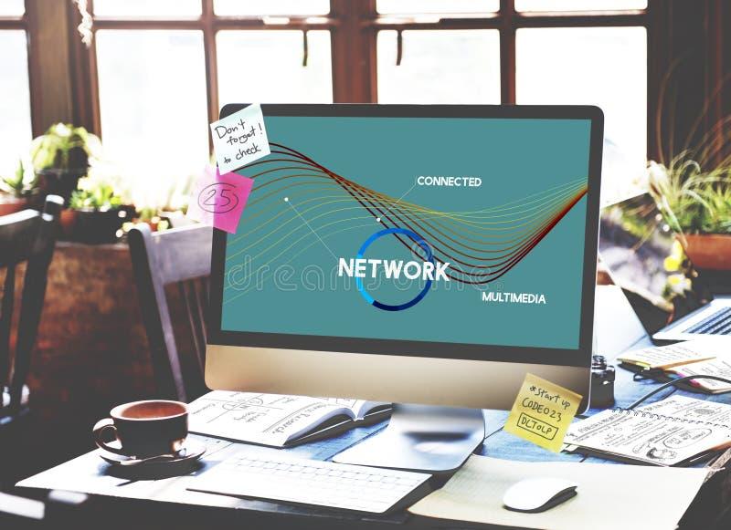 Concepto del web de la conexión de la comunicación de la red fotografía de archivo