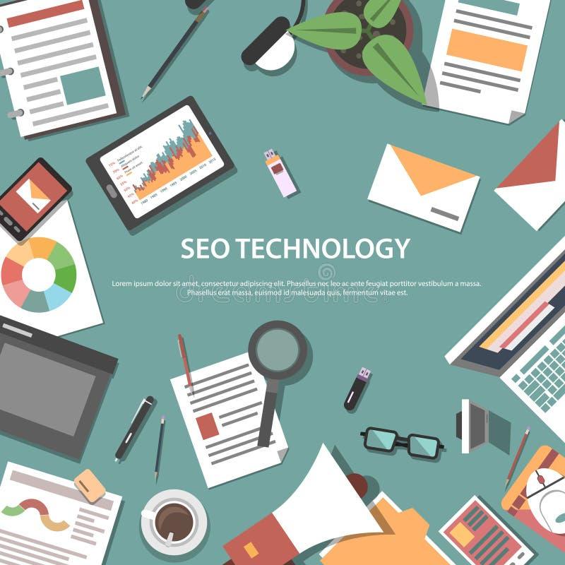 Concepto del web de la optimización del Search Engine ilustración del vector