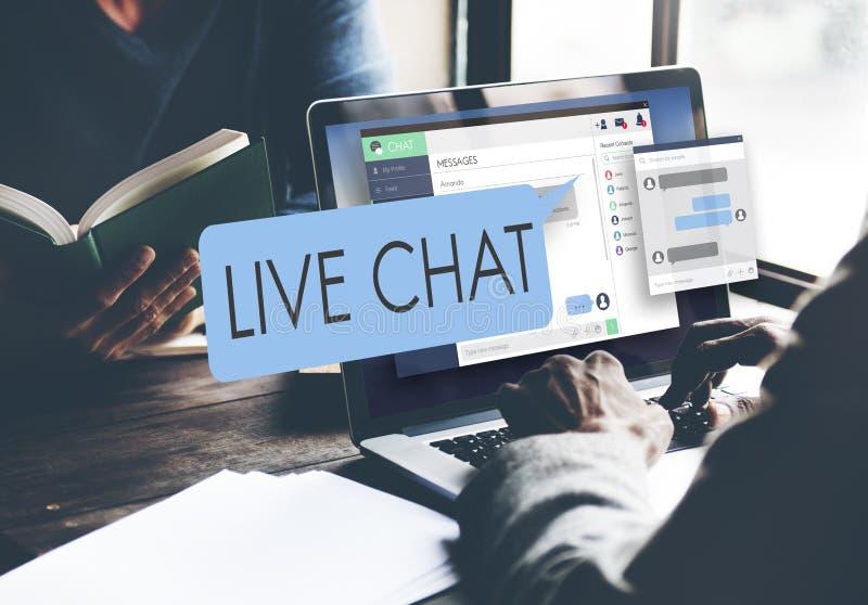Concepto del web de Live Chat Chatting Communication Digital fotos de archivo