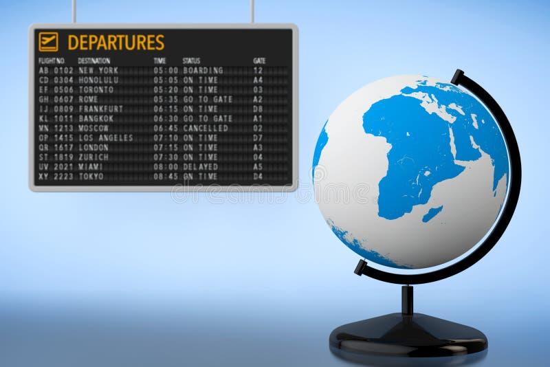 Concepto del World Travel Tablero de las salidas del aeropuerto con el globo de la tierra stock de ilustración