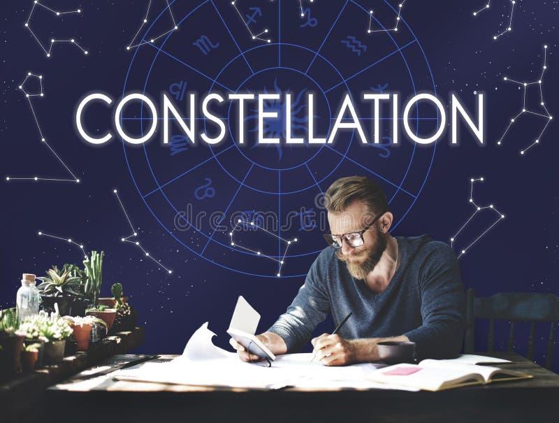 Concepto del zodiaco de la adivinación del horóscopo de la astronomía de la constelación imagen de archivo libre de regalías