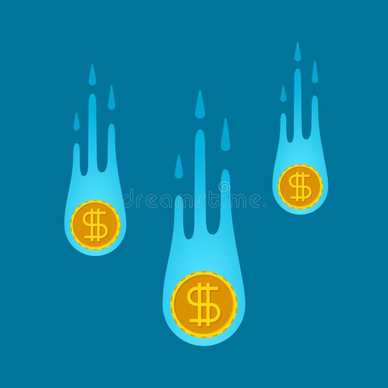 Concepto descendente de las monedas del vector en estilo del fla ilustración del vector