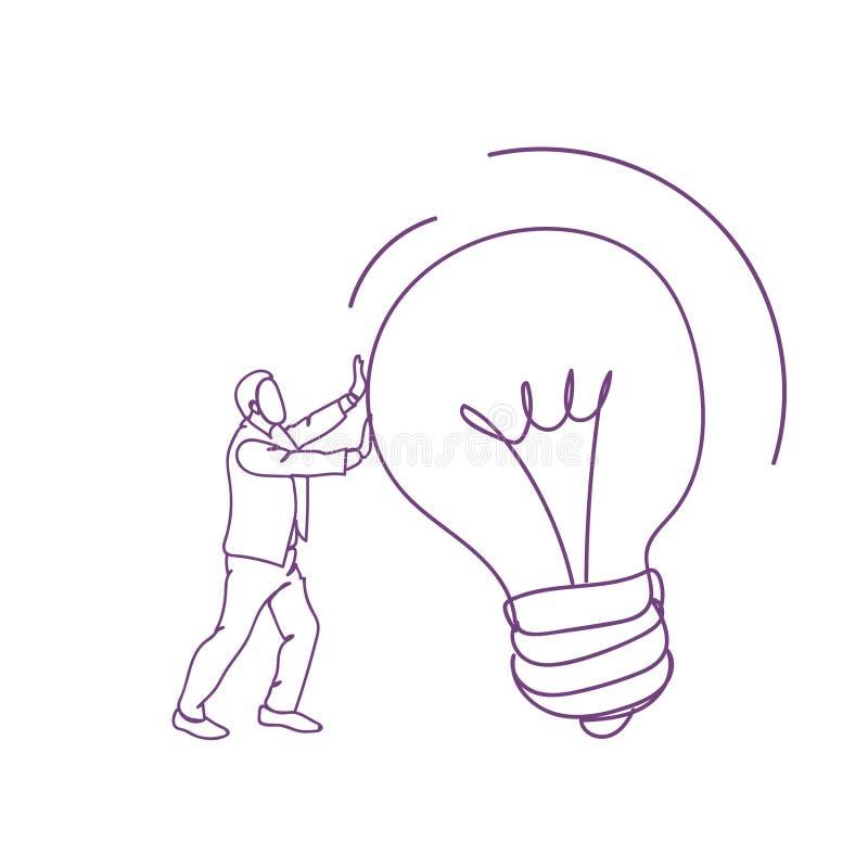 Concepto dibujado mano de la idea de la bandera de la bombilla del empuje del garabato del hombre de negocios nuevo stock de ilustración