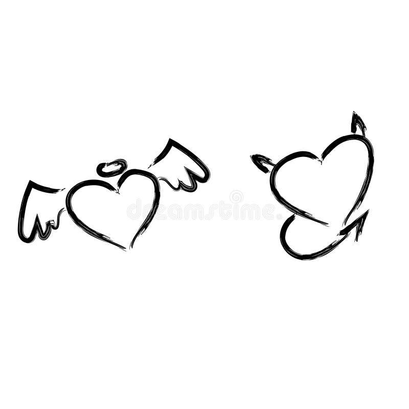 Concepto dibujado mano de los corazones ilustración del vector