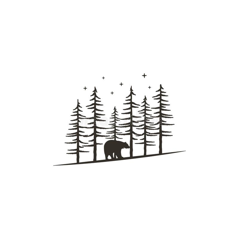 Concepto dibujado mano del bosque del vintage con el oso El diseño monocromático negro para las impresiones, camisetas, viaje asa stock de ilustración