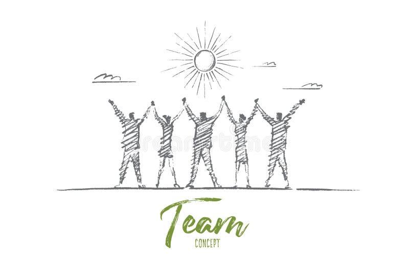 Concepto dibujado mano del equipo con las letras ilustración del vector