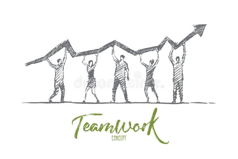 Concepto dibujado mano del trabajo en equipo de la gente con las letras ilustración del vector