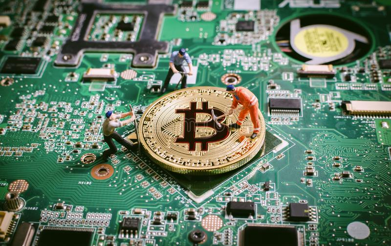 Concepto digital de los crytocurrencies del blockchain de la moneda de Bitcoin imagenes de archivo
