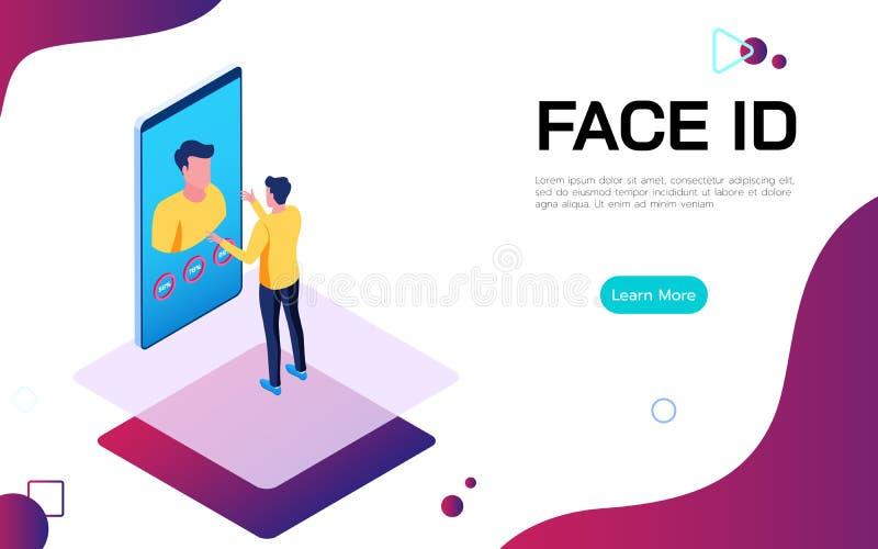 Concepto digital del technologie de la seguridad de la identificación isométrica de la cara Las aplicaciones del hombre hacen fre stock de ilustración