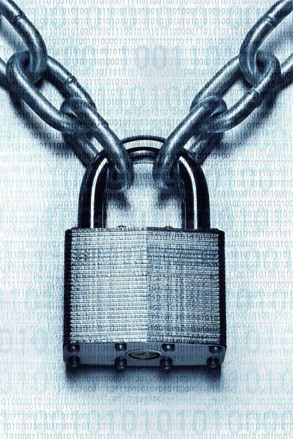 Concepto digital impenetrable de la seguridad Candado y cadena bloqueados imagen de archivo libre de regalías