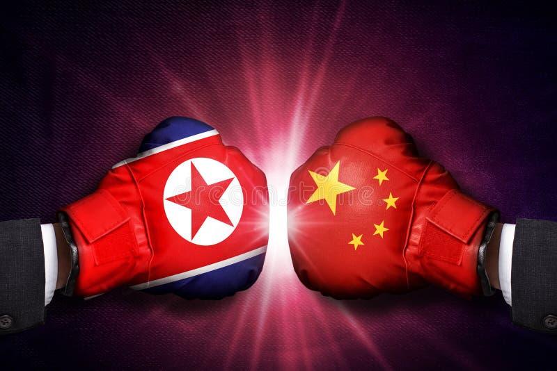 Concepto diplomático entre Corea del Norte y China fotografía de archivo libre de regalías
