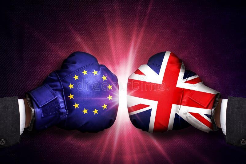 Concepto diplomático y comercial entre Reino Unido y la unión europea imagenes de archivo