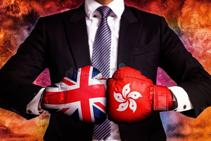 Concepto diplomático y del negocio del comercio entre Hong Kong y Reino Unido imagen de archivo