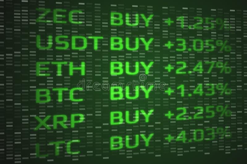 Concepto disparatado Crypto de la compra del mercado de moneda La exposición doble de monedas digitales valora para arriba y fond ilustración del vector