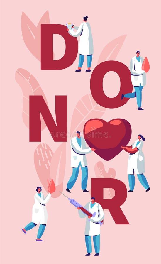 Concepto dispensador de aceite Los doctores de sexo masculino, de sexo femenino Characters en uniforme médico Laboratorio de la d libre illustration