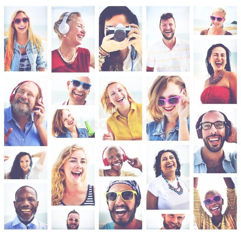 Concepto diverso del verano de los retratos de la variación de la gente imágenes de archivo libres de regalías