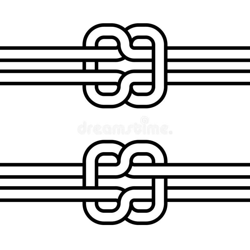Concepto doble del nudo del uno mismo-lazo del vector marino del nudo de cohesión y de trabajo en equipo ilustración del vector