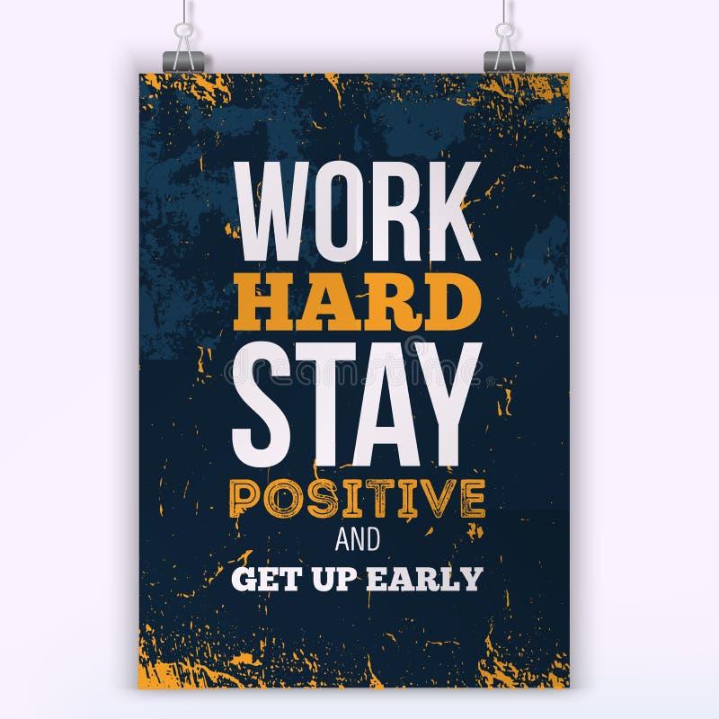 Concepto duro del negocio de la motivación del trabajo Cartel de motivación e inspirado del vector de la tipografía Impresión par libre illustration