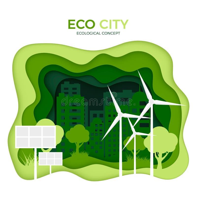 Concepto ecológico de la ciudad de Eco Plantilla de la bandera del corte del Libro Verde Día de ambiente de mundo Energía verde ilustración del vector