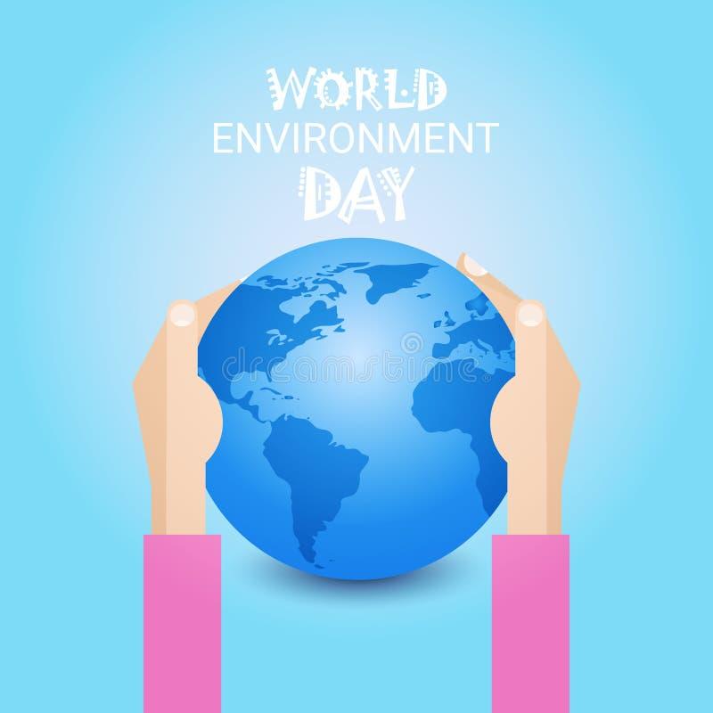 Concepto ecológico global del día de fiesta de la protección del mundo del Día de la Tierra del control de la mano libre illustration