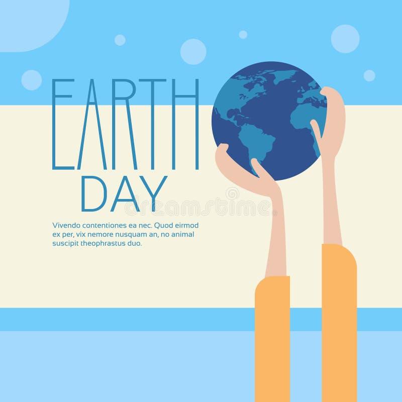 Concepto ecológico global del día de fiesta de la protección del mundo del Día de la Tierra del globo del control de la mano ilustración del vector