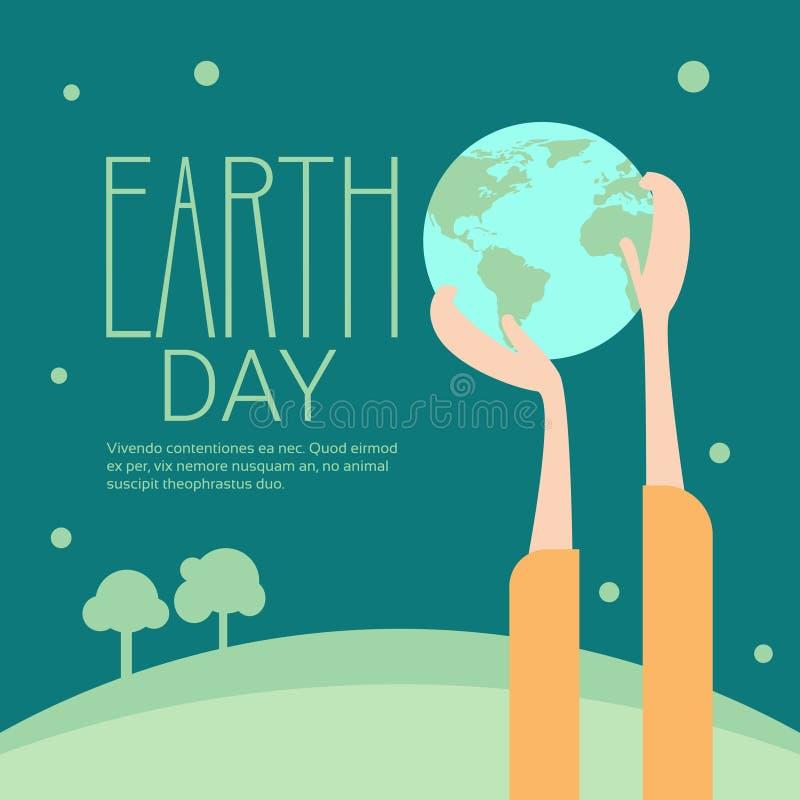 Concepto ecológico global del día de fiesta de la protección del mundo del Día de la Tierra del globo del control de la mano stock de ilustración