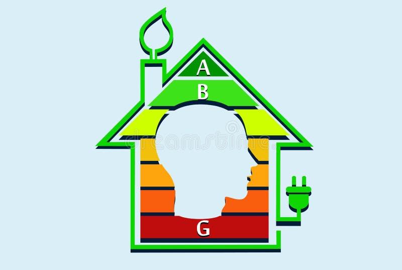 Concepto económico de energía de la casa con el gráfico de la clasificación dentro ilustración del vector
