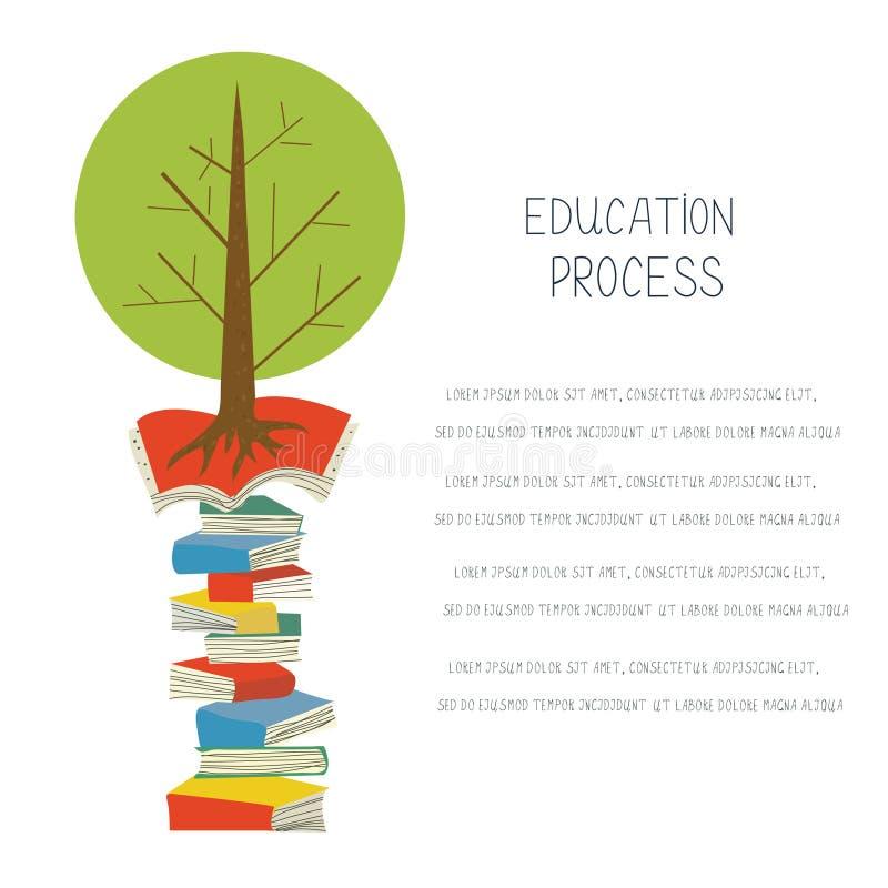 Concepto educativo con los libros y el árbol, diseño para el espacio en blanco ilustración del vector