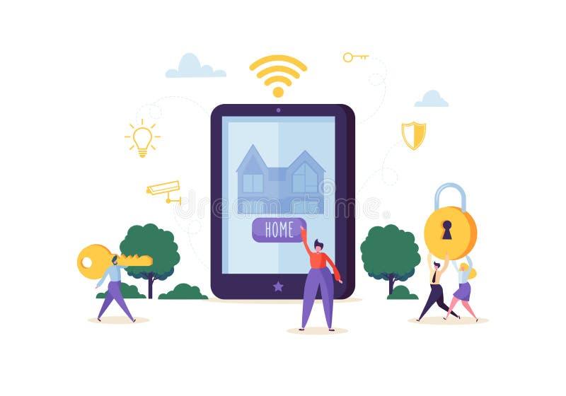 Concepto elegante de la tecnología de la casa Caracteres de la gente que controlan Sequrity casero y energía del poder con el App ilustración del vector