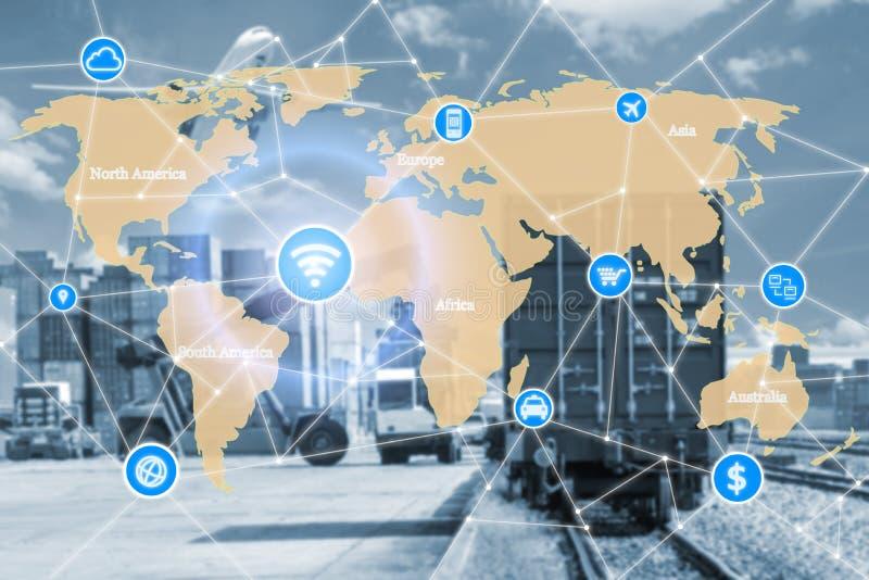 Concepto elegante de la tecnología con la sociedad global de la logística para L foto de archivo