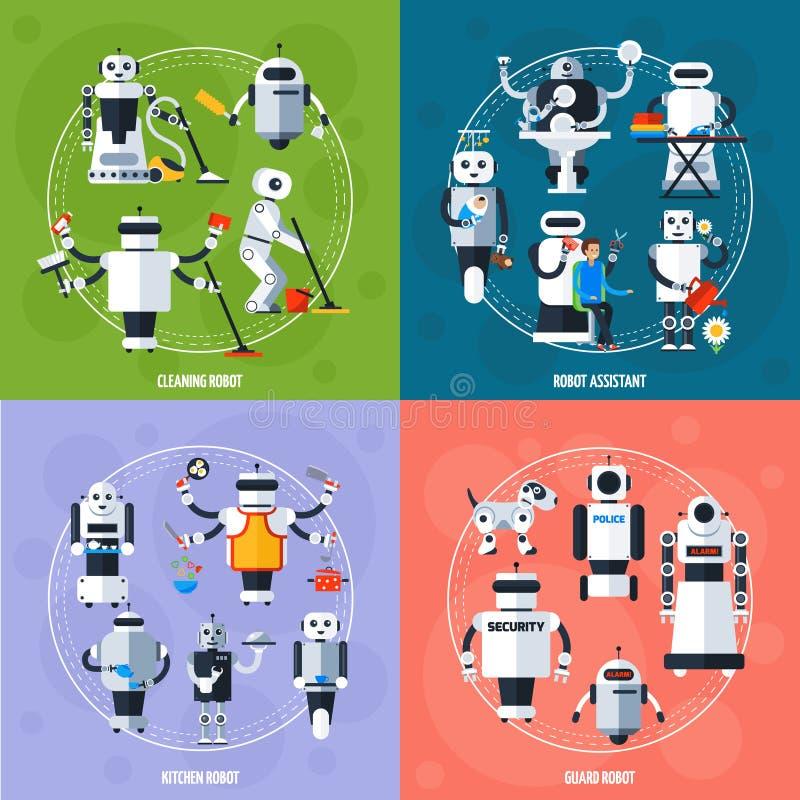 Concepto elegante de los robots ilustración del vector