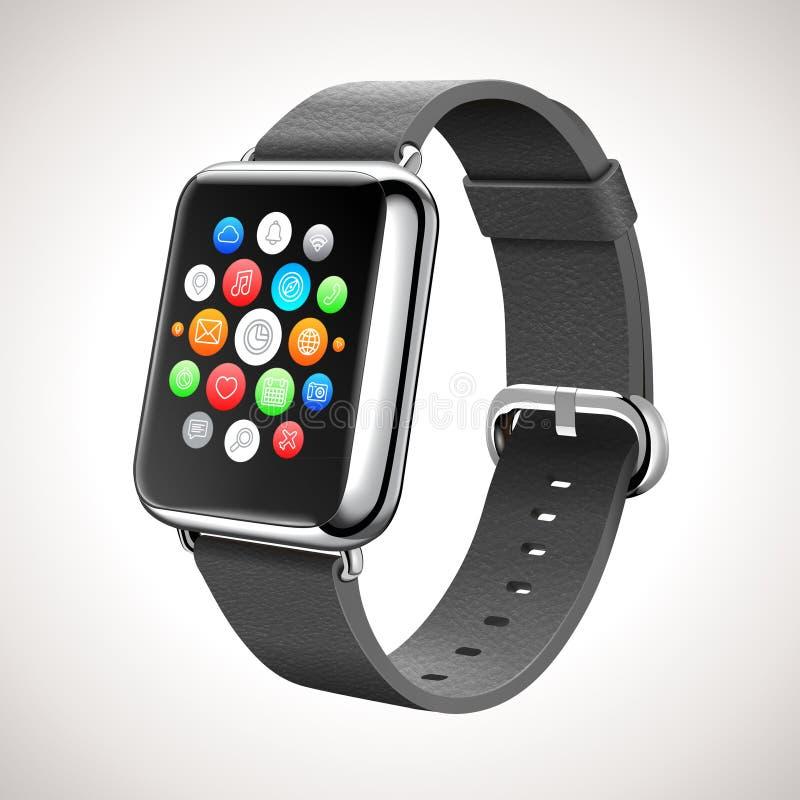 Concepto elegante del reloj con los iconos móviles de los apps ilustración del vector