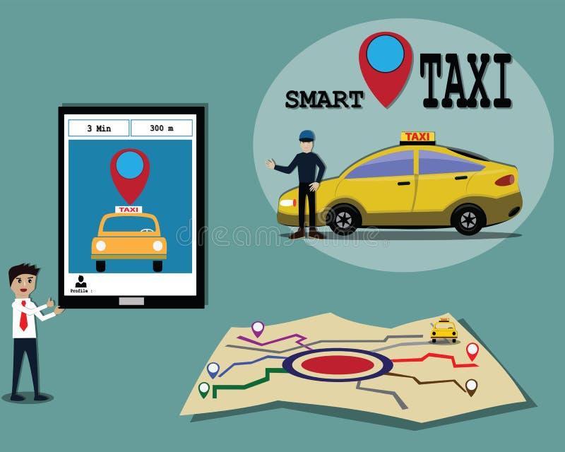 Concepto elegante del taxi, es fácil a la aplicación móvil usada para el taxi de la llamada - vector ilustración del vector