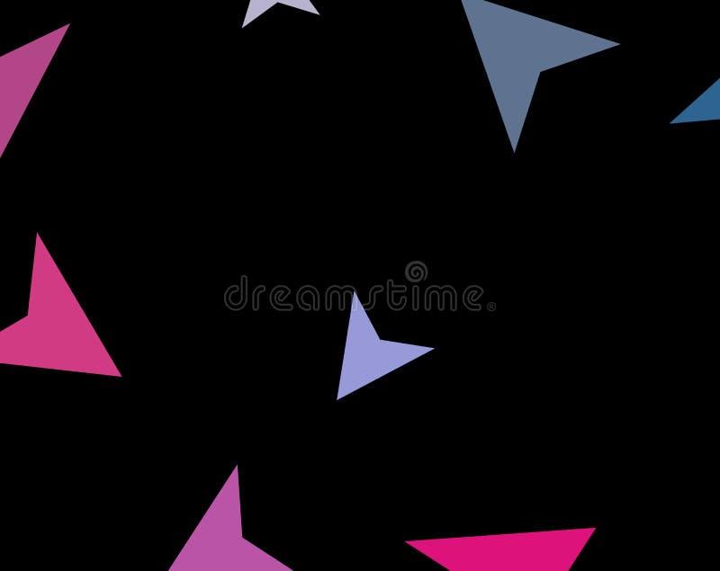 Concepto elegante moderno de triángulos coloridos en fondo oscuro Aviones de papel abstractos, flechas, puntas de flecha Ilustrac stock de ilustración