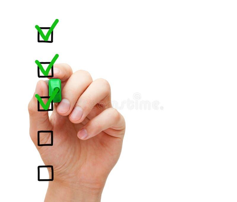 Concepto en blanco de la lista de control de la encuesta sobre el servicio de atención al cliente fotos de archivo libres de regalías
