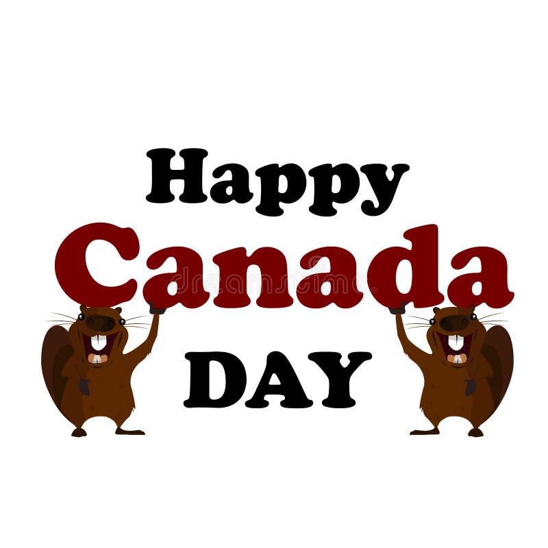 Concepto en el día de Canadá, castor del día de fiesta stock de ilustración