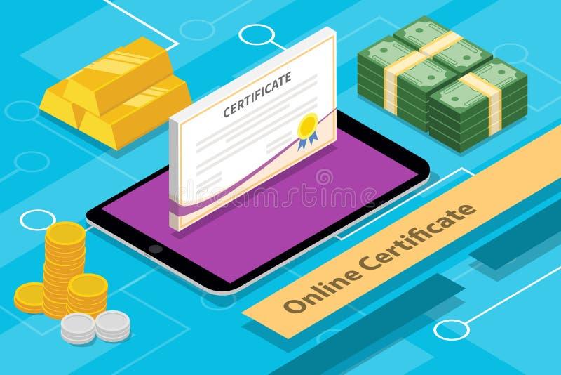Concepto en línea 3d isométrico de la certificación con los apps tableta y dinero libre illustration