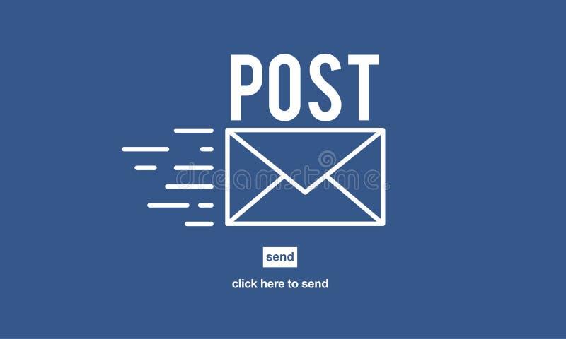 Concepto en línea de la comunicación del mensaje de la correspondencia del correo de los posts ilustración del vector