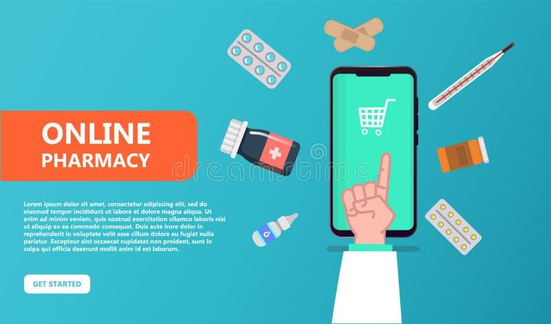 Concepto en línea de la droguería Bolso de compras con el antibiótico libre illustration