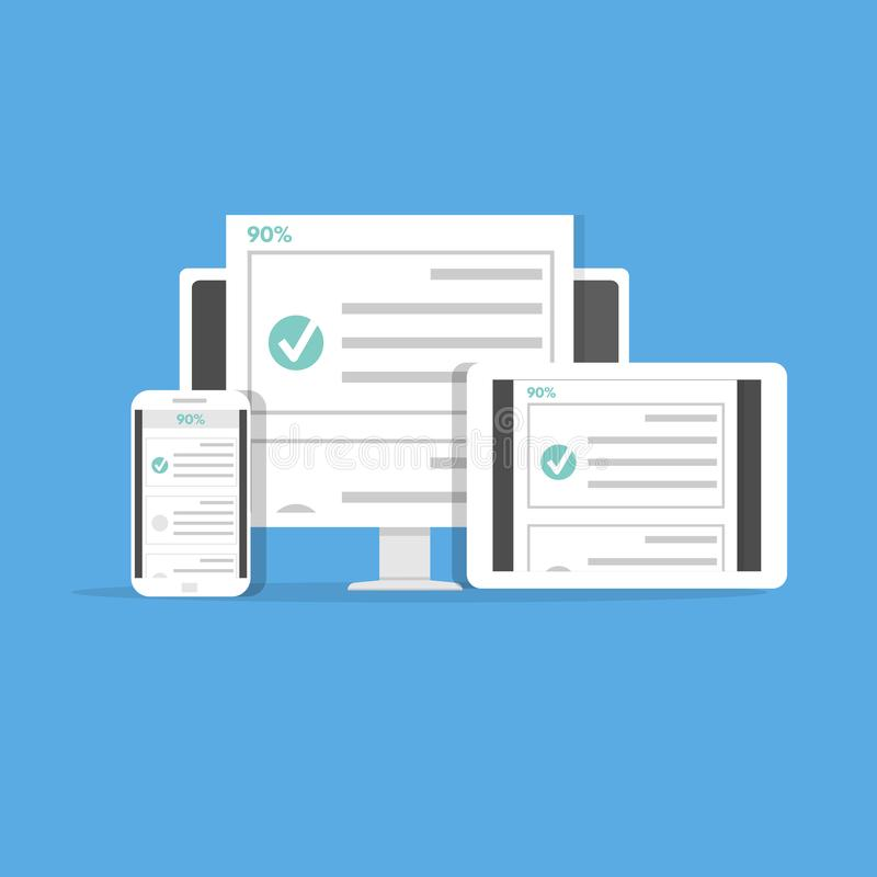 Concepto en línea de la E-educación de la lista del examen del concurso, de la prueba, de la encuesta o de la lista de control stock de ilustración
