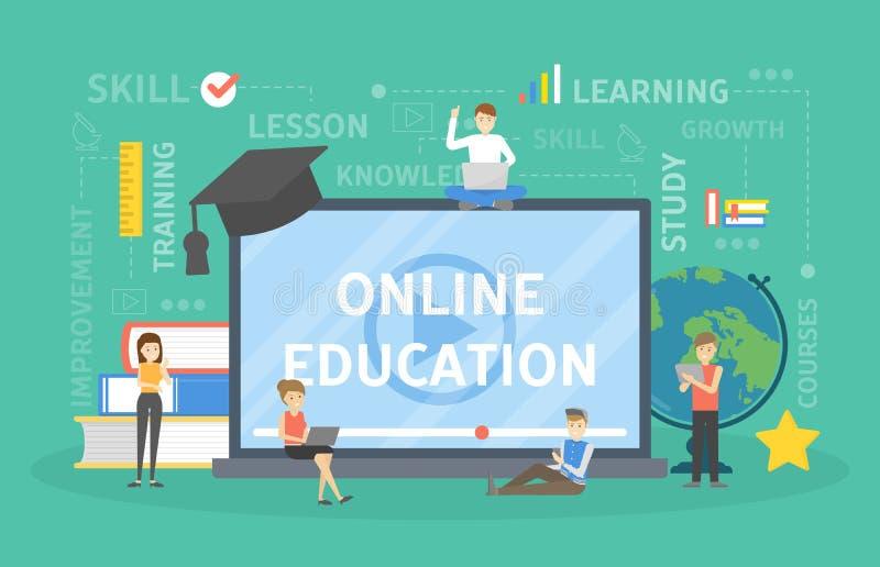 Concepto en línea de la educación ilustración del vector