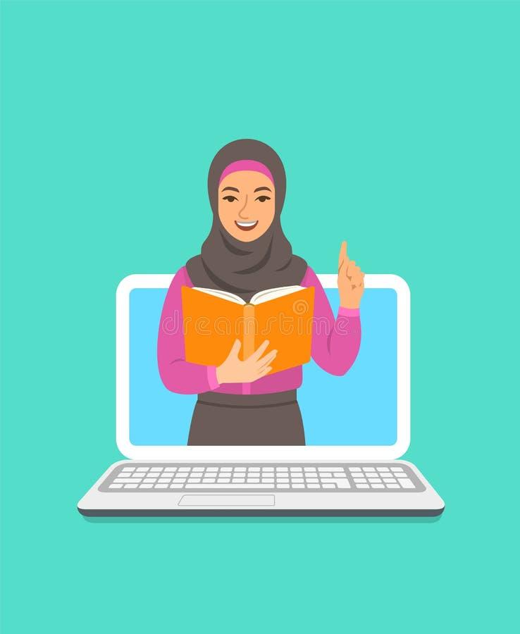 Concepto en línea de la educación con el profesor árabe de la mujer stock de ilustración