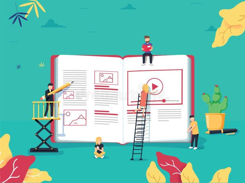 Concepto en línea de la educación con la pequeña gente que estudia cerca de e-b grande ilustración del vector