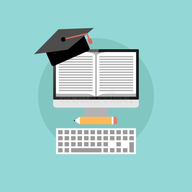Concepto en línea de la educación, diseño plano stock de ilustración