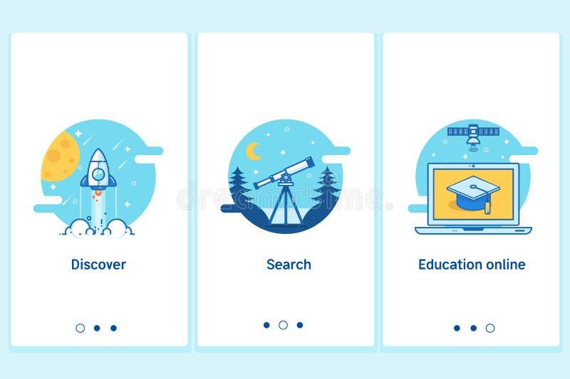 Concepto en línea de la educación en estilo plano, linear fino Plantilla moderna de la pantalla del GUI de UX UI del interfaz par stock de ilustración