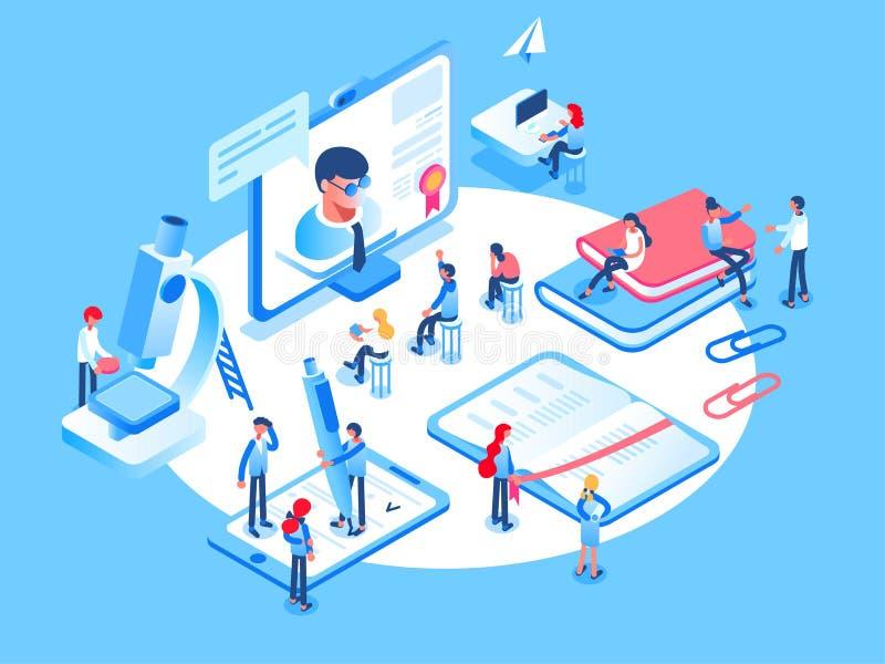 Concepto en línea de la educación Los cursos de aprendizaje en línea, especialización, universidad estudian gente isométrica 3d stock de ilustración