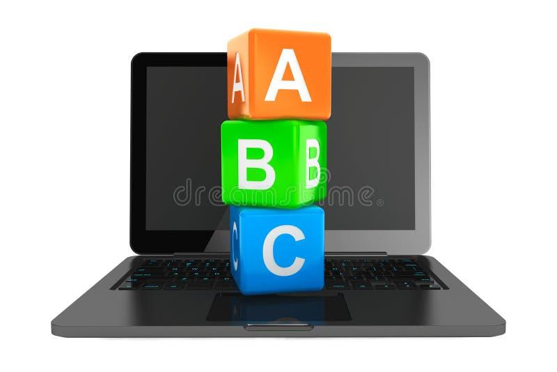 Concepto en línea de la educación. Ordenador portátil moderno con los cubos del juguete de ABC ilustración del vector