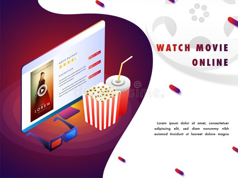 Concepto en línea de la película con la disposición isomérica, película que juega en el escritorio stock de ilustración