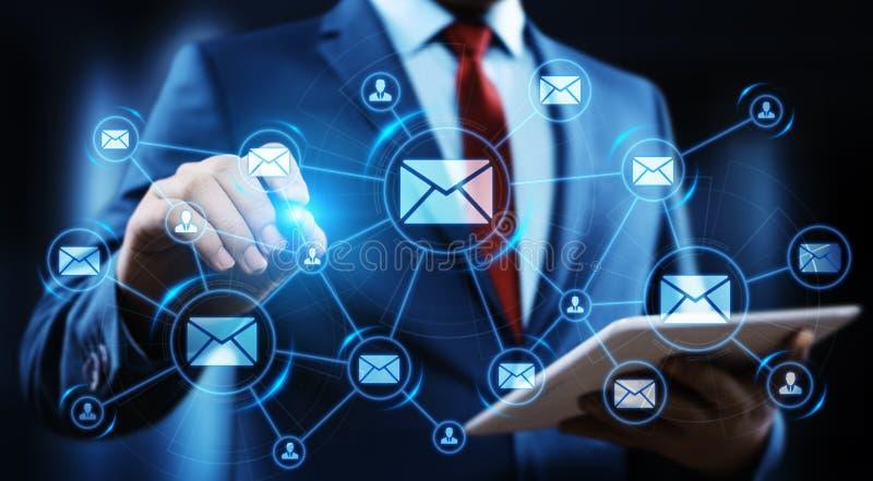 Concepto en línea de la red de la tecnología de Internet del negocio de la charla de la comunicación del correo del correo electr fotografía de archivo